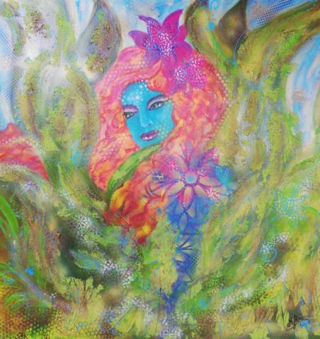peinture, peinture énergétique, portrait, visage, femme bleue, acrylique, peinture acrylique, peinture harmonique