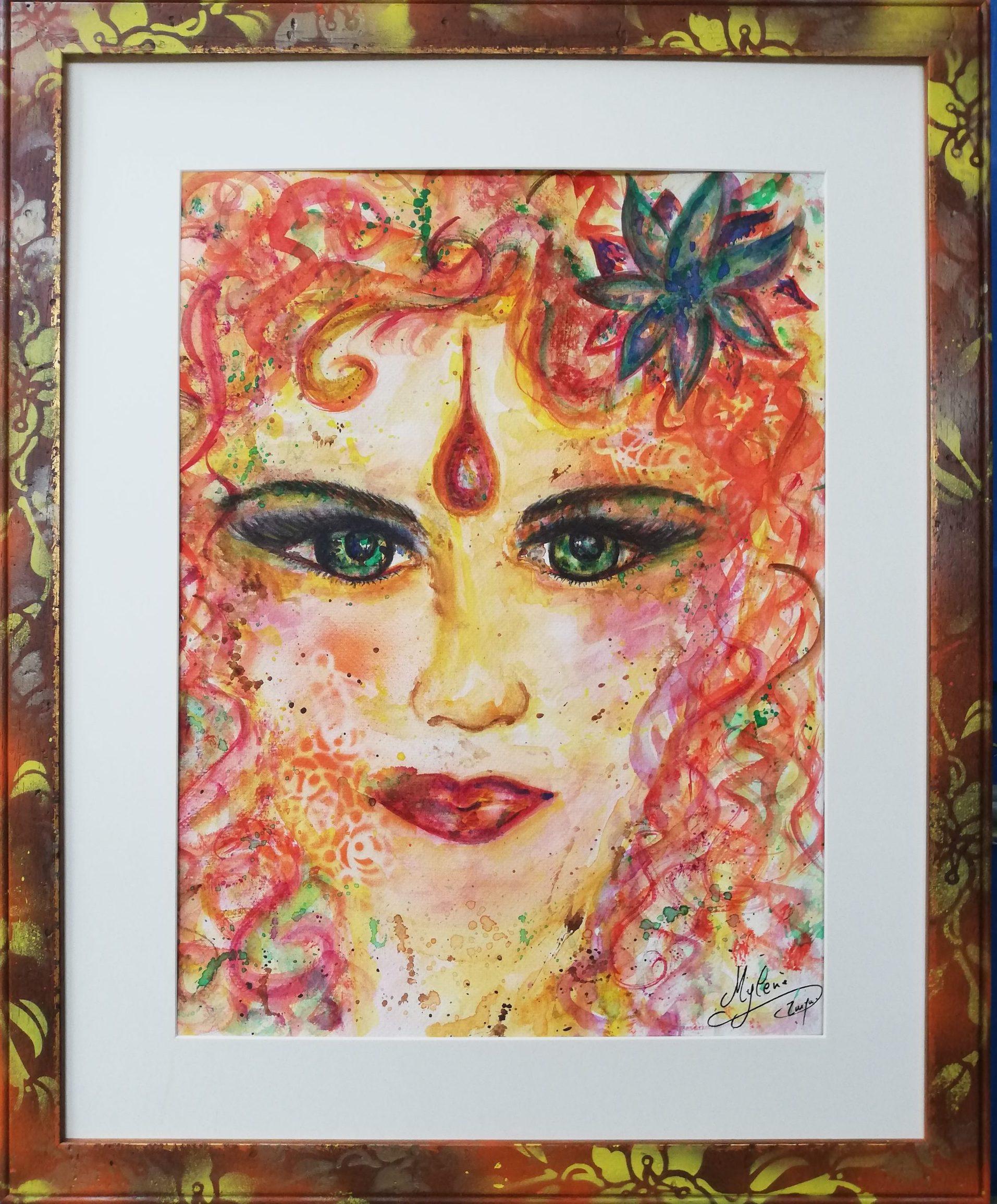 peinture, peinture énergétique, portrait, visage