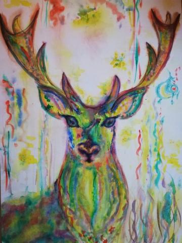 peinture, peinture énergétique, animaux, cerf, nature, couleurs