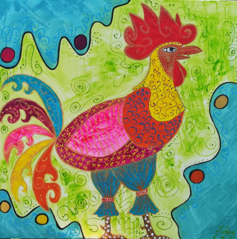coq, peinture énergétique, couleurs, joie, bonheur, souveraineté