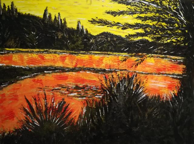 peinture acrylique, coucher de soleil, paysage