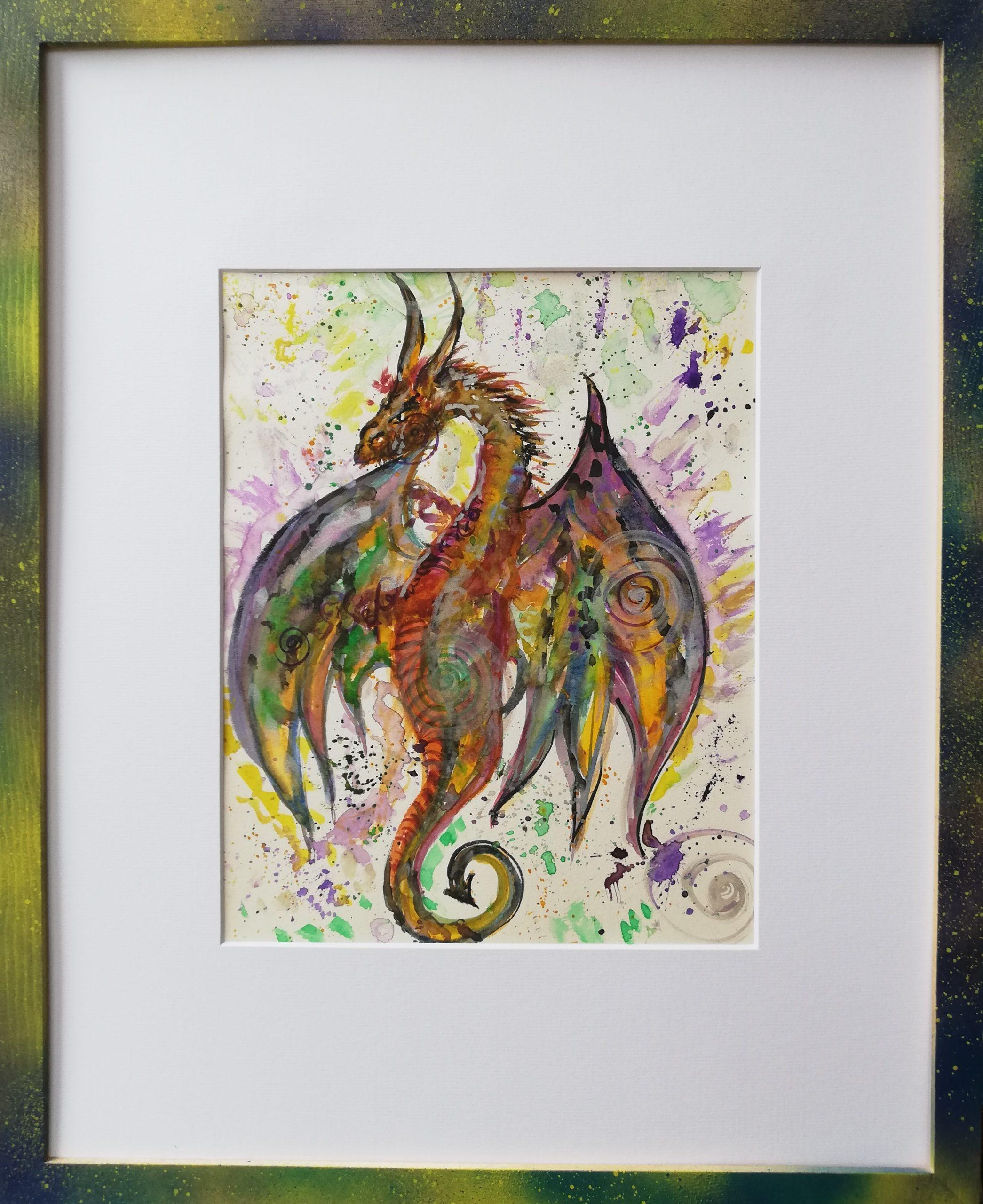 dragon, peinture énergétique, aquarelle, couleurs, puissance