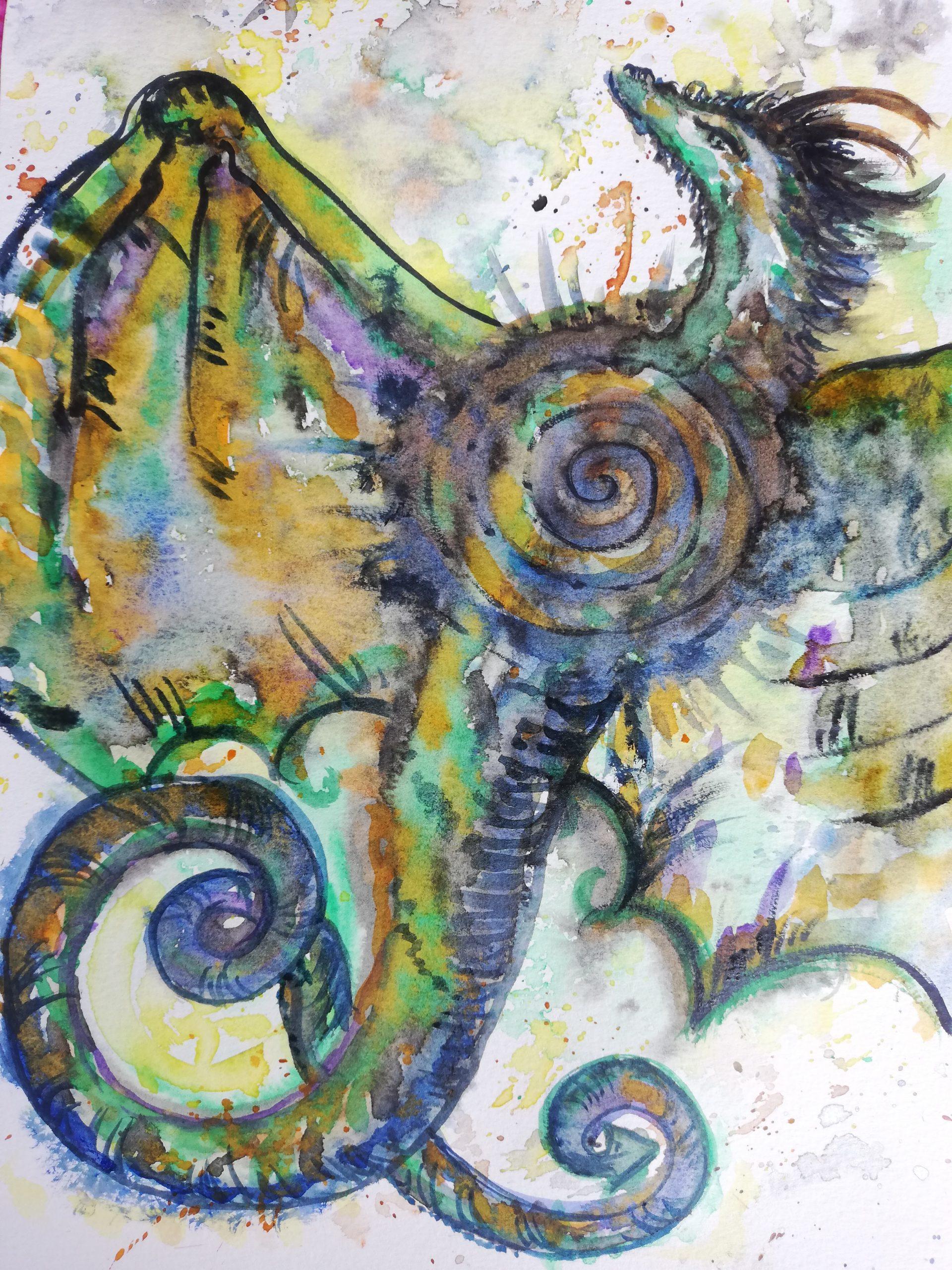 dragon, peinture énergétique, aquarelle, gaia, ancêtre, élévation, puissances, guérison,