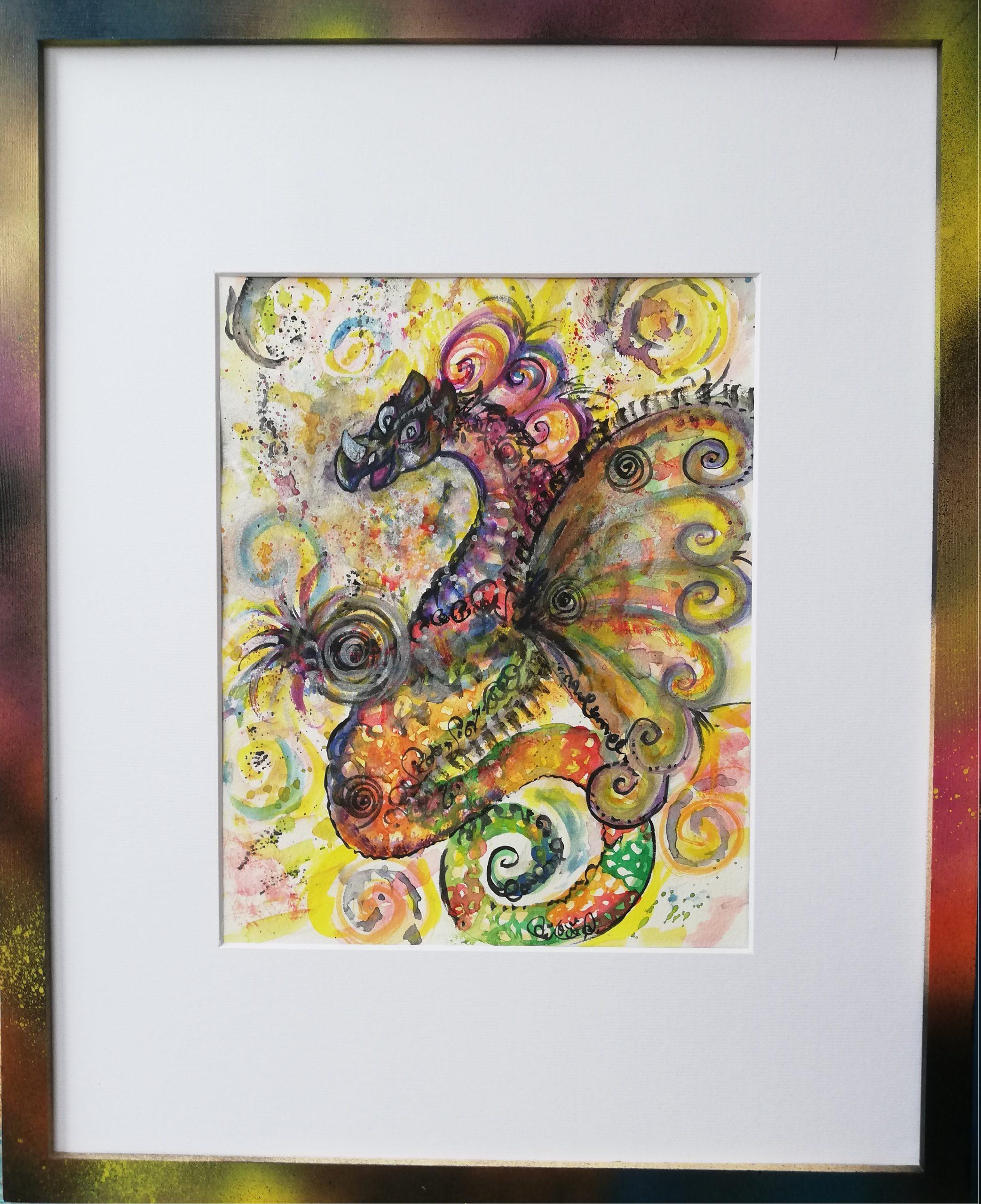 dragon, peinture énergétique, aquarelle, joie, amour, couleurs arc en ciel, magie, peps, dynamisme