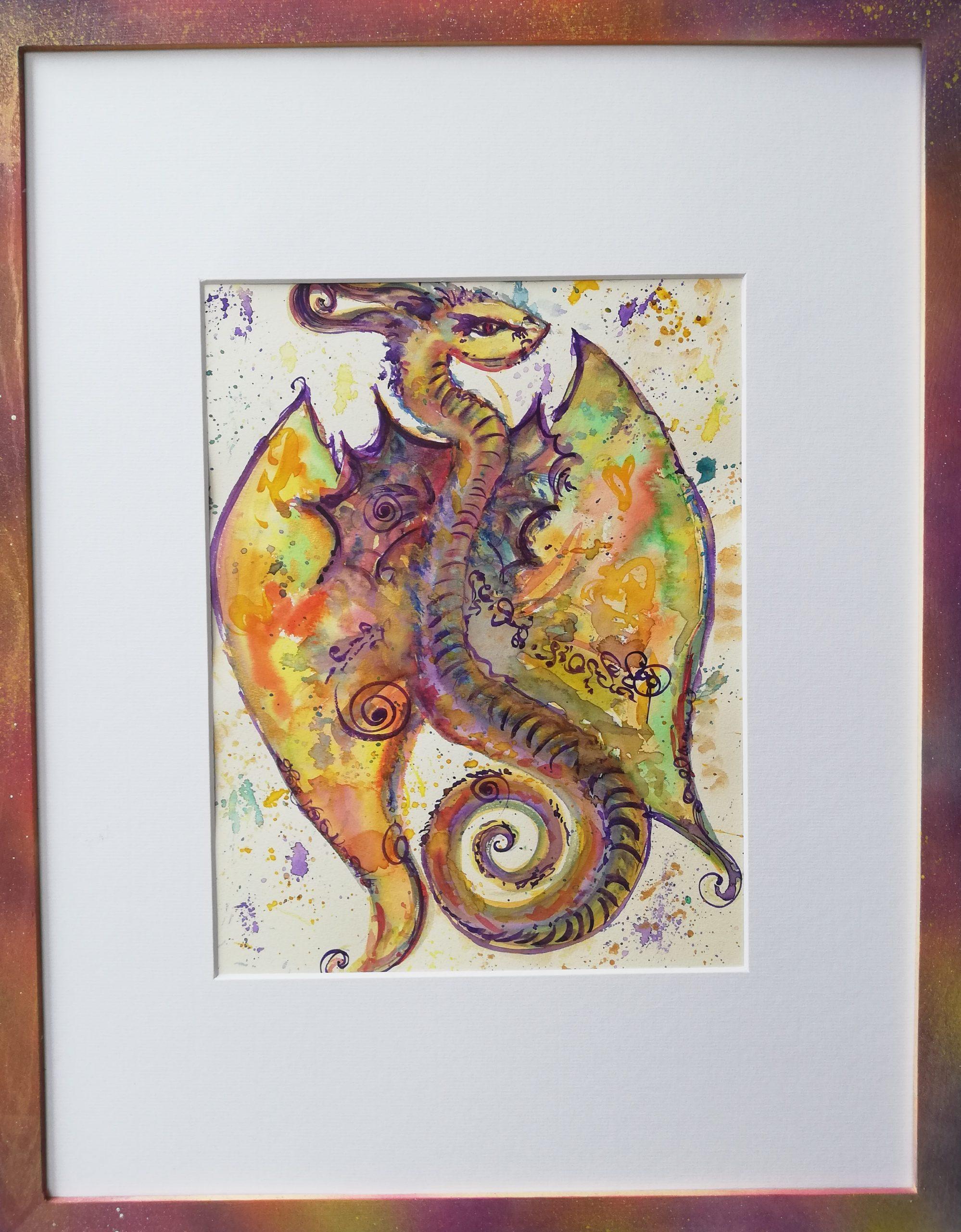 dragon, peinture énergétique, aquarelle, beauté , dragonne, douceur, amour, bienveillance