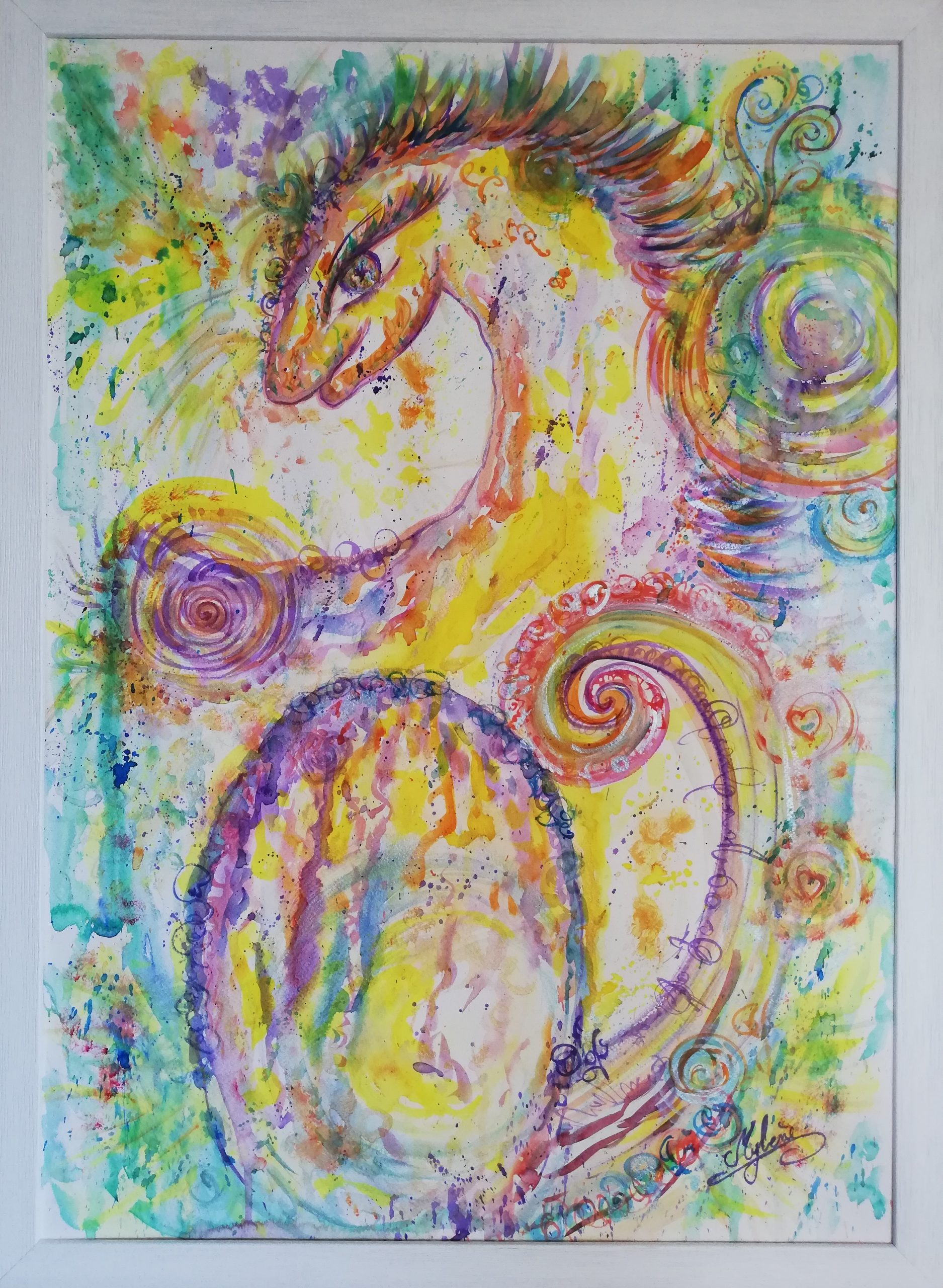 dragon, peinture énergétique, aquarelle, dragonne, maman, mère, oeuf, joie, amour, couleurs, magie, l'âme agit
