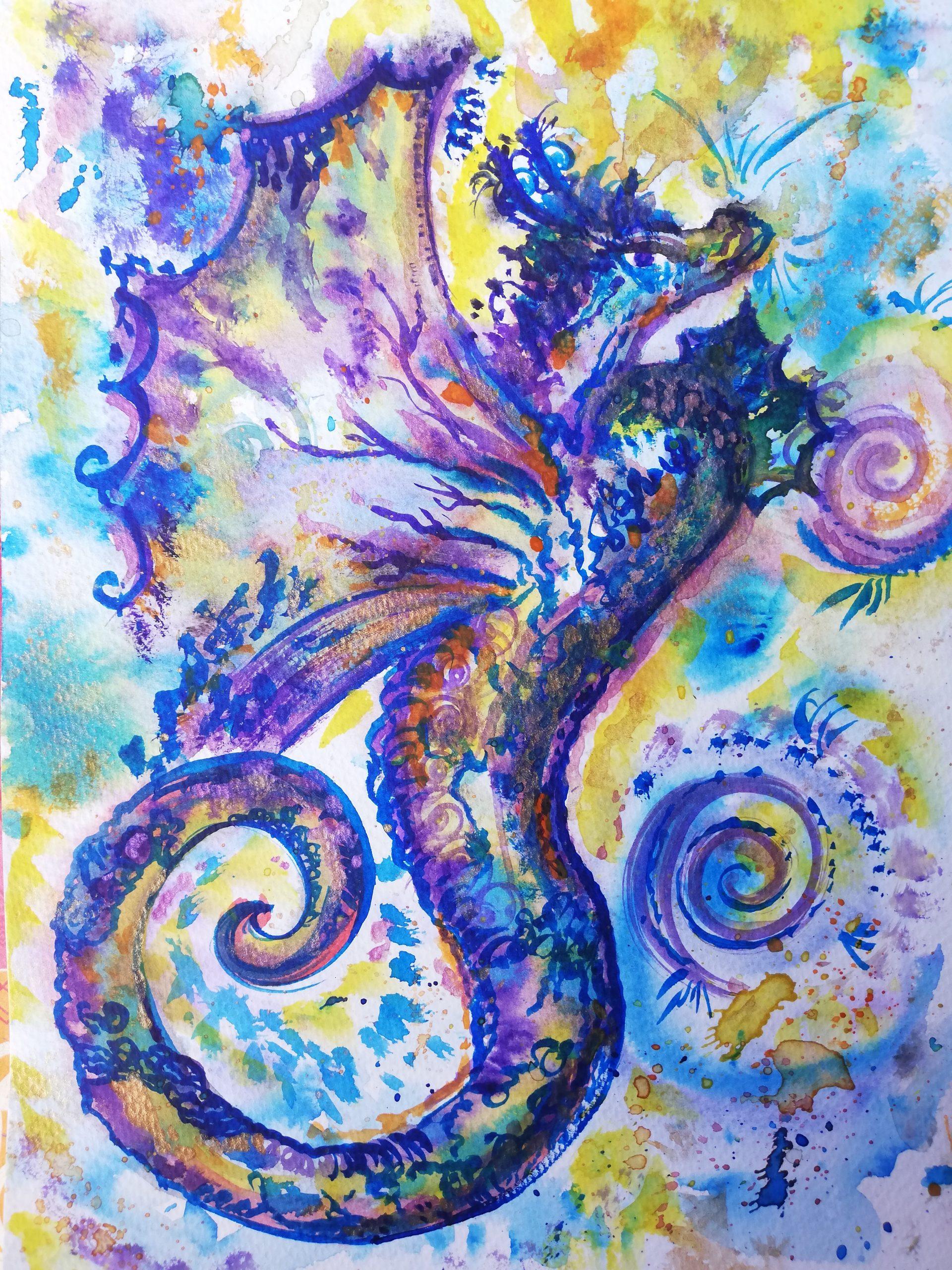 dragon, peinture énergétique, aquarelle, beauté , dragonne, douceur, amour, bienveillance, hyppocampe