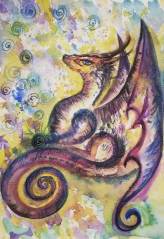 dragon, peinture énergétique, aquarelle, étoile, espoir, couleurs, rêves