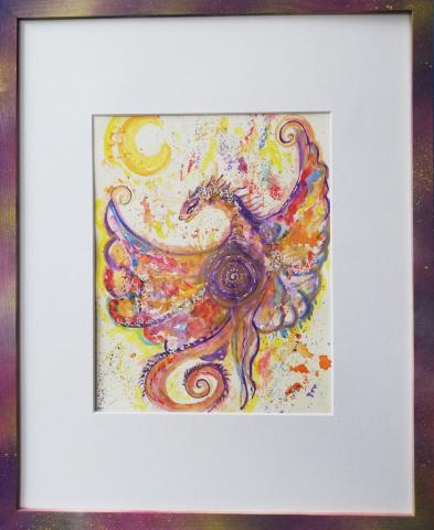 dragon, peinture énergétique, aquarelle, beauté , lune, dragonne, douceur, amour, bienveillance