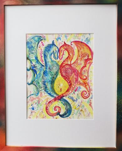 dragon, peinture énergétique, aquarelle, couleurs, amour, couple, couple sacré, partage, bienveillance