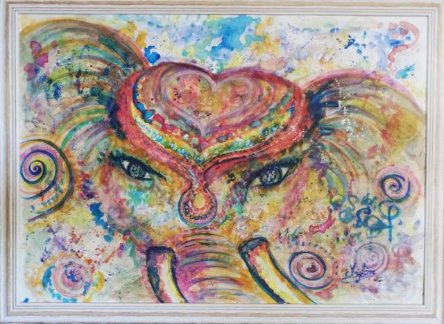 peinture, peinture énergétique, animaux, éléphant, amour, couleurs, partage, bonheur, rêves, magie