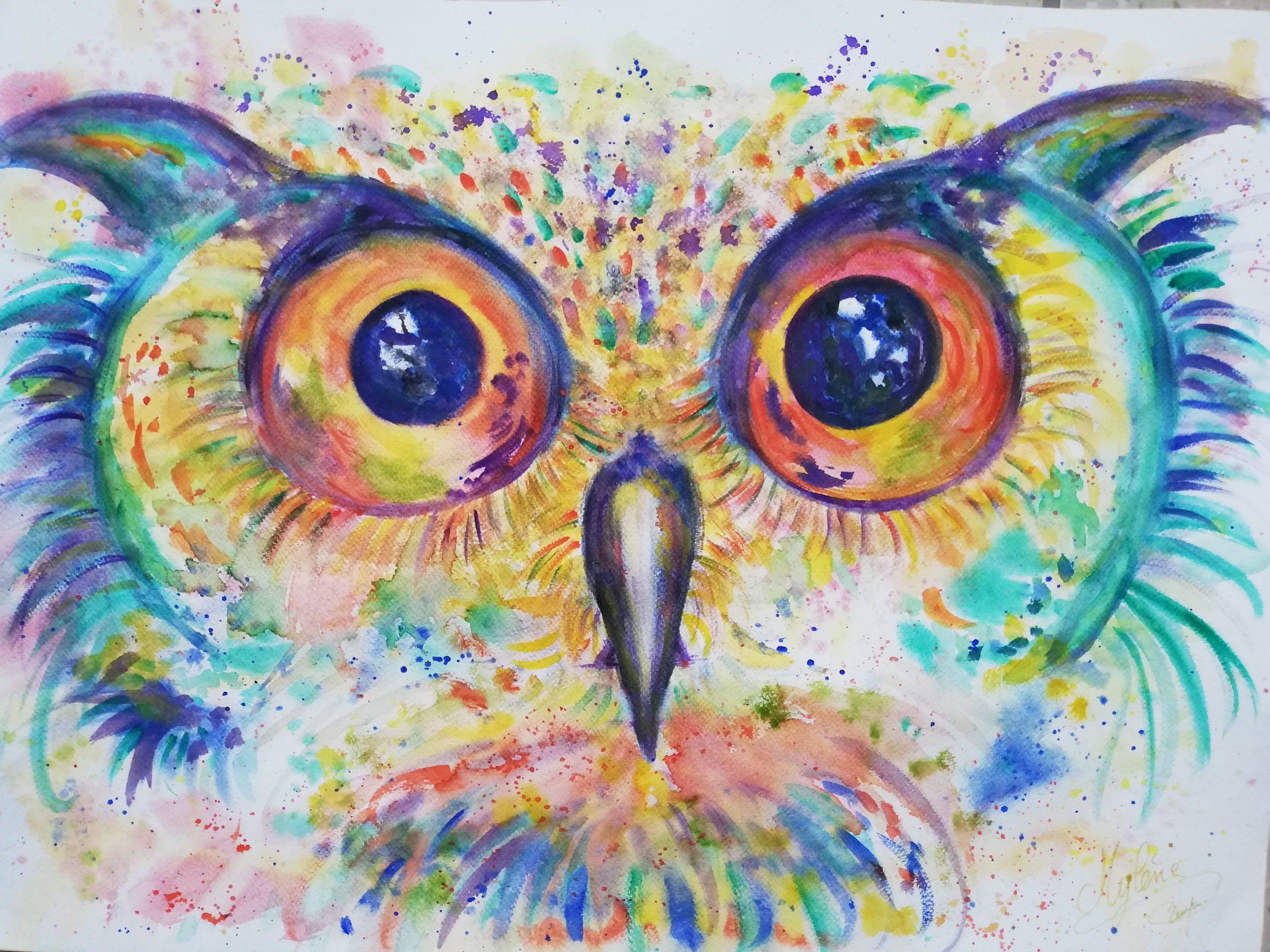 peinture, peinture énergétique, animaux, hibou, nature, chouette, couleurs, regard, bienveillance, spiritualité, magie