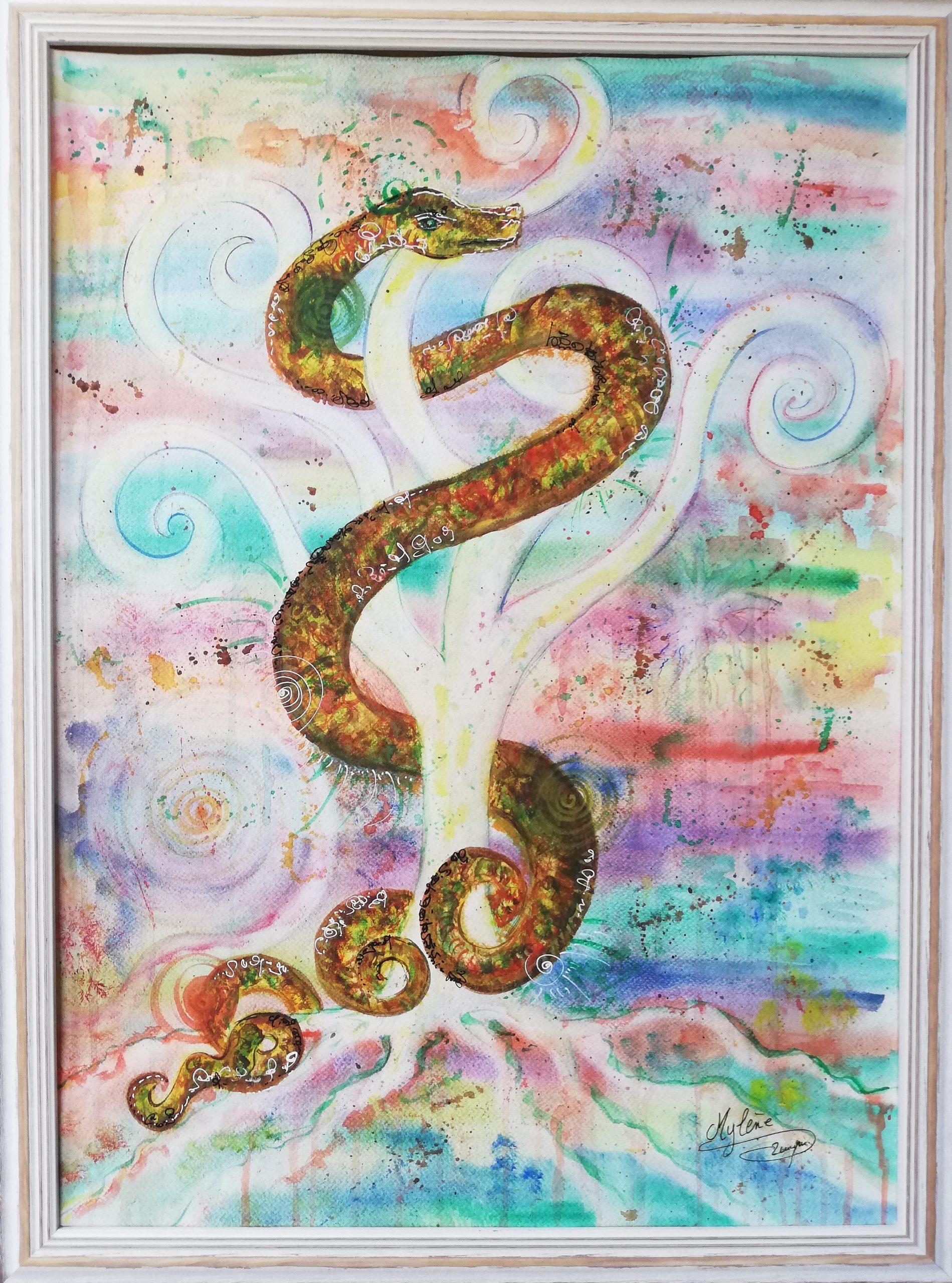 peinture, peinture énergétique, animaux, serpent, arbre de vie, espoir, création, plénitude, spiritualité, couleurs