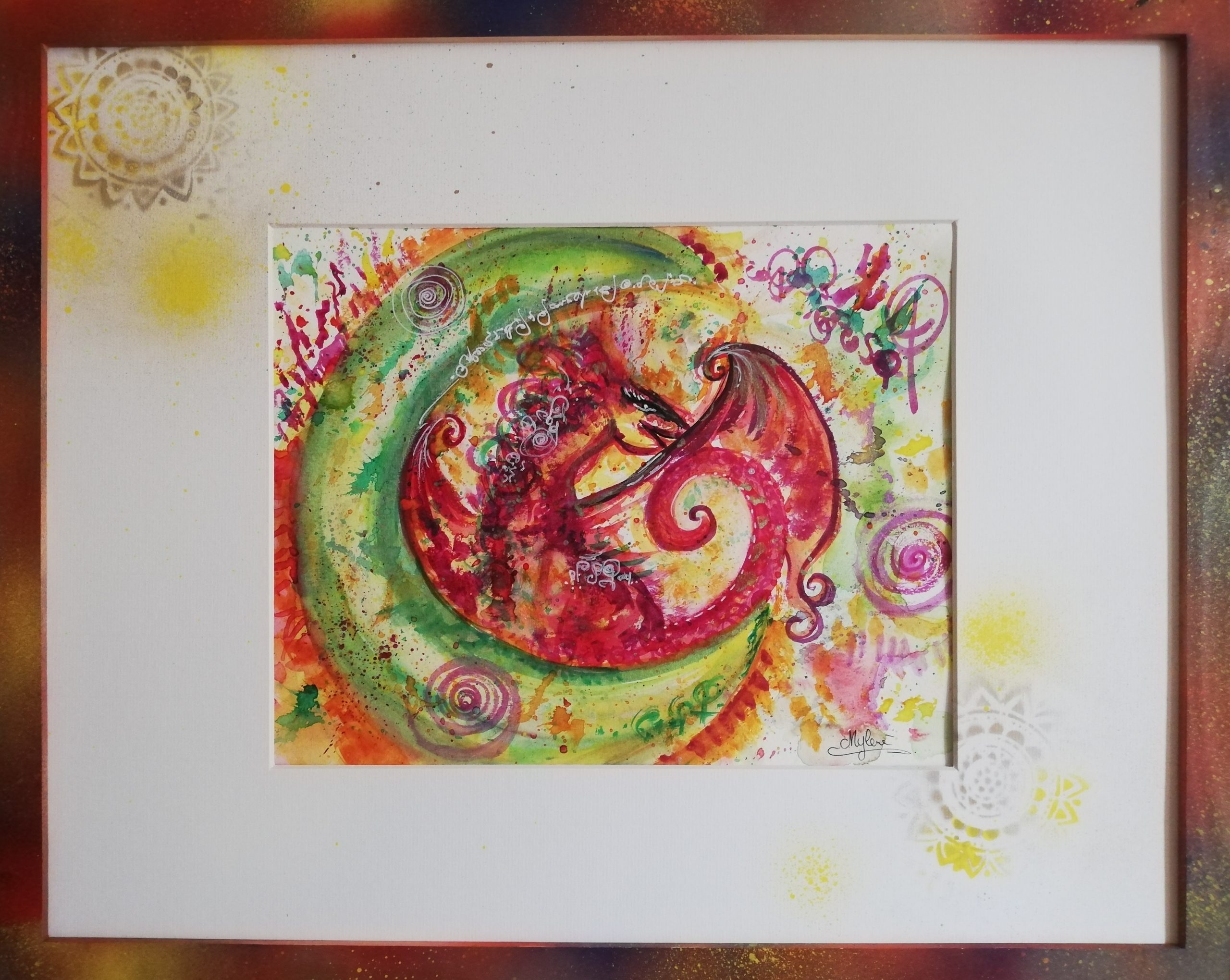 dragon, peinture énergétique, aquarelle, beauté , dragonne, douceur, amour, bienveillance, puissance, flamboyante, lune