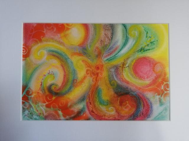 dragon, peinture énergétique, pastel, couleurs, douceur, monde nouveau, espoir, amour, joie, arc en ciel