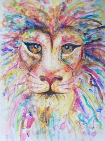 peinture, peinture énergétique, animaux, lion, couleurs, regard, bienveillant, puissance, décision, dynamisme