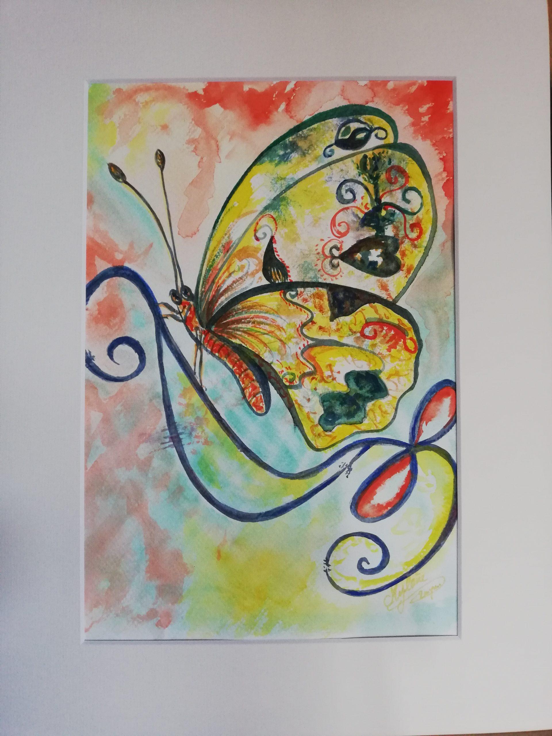 peinture, peinture énergétique, animaux, papillon, envole, transformation, amour,couleur
